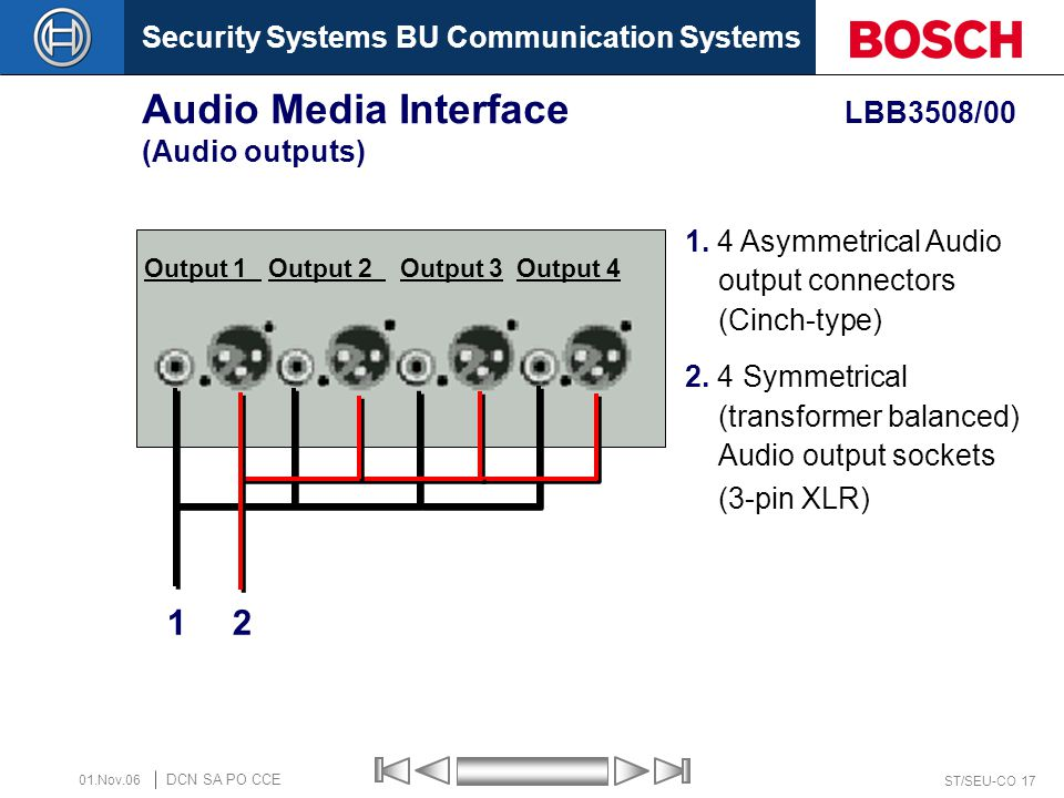 Security Systems BU Communication Systems ST/SEU-CO 17 DCN SA PO CCE 01.Nov.06 Audio Media Interface LBB3508/00 (Audio outputs) 1 2 Output 1 Output 2