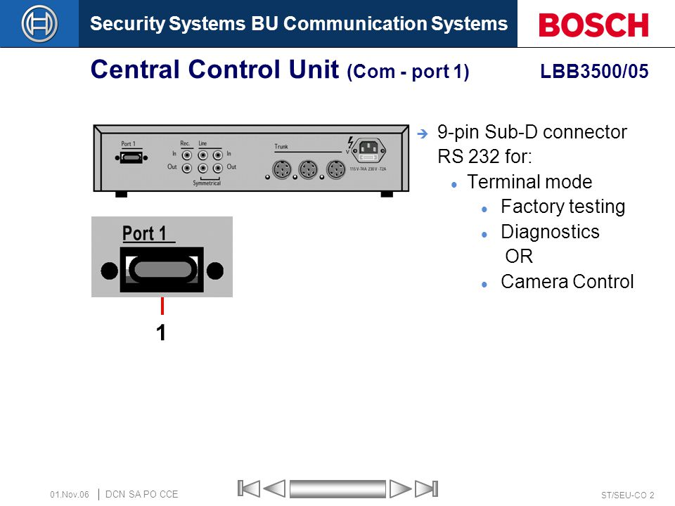 Security Systems BU Communication Systems ST/SEU-CO 2 DCN SA PO CCE 01.Nov.06 Central Control Unit (Com - port 1) LBB3500/05  9-pin Sub-D connector R