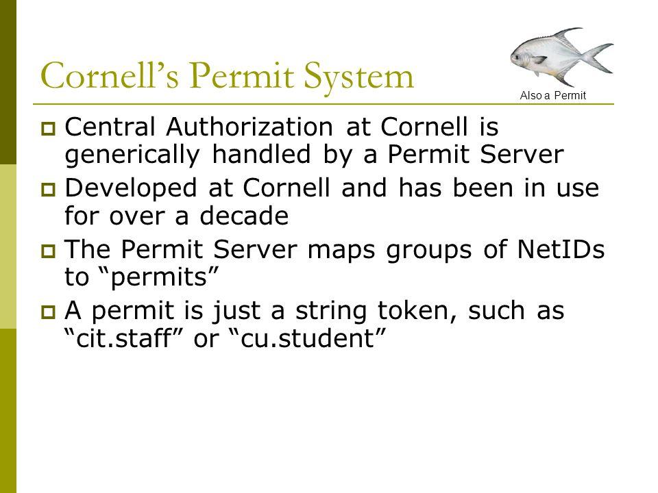 PERMIT NAMELIST OF NETIDs cit.staffbbb1, cjm5, jtp5, rd29, jv11, … cu.employeeaba1, cjm5, jtp5, rd29, jv11, … cu.studentfbc4, gv455, rb553, tgm4, … cit.update.eudorafbc4, gv455, jtp5, rd29, jv11, … On the Permit Server, we might see something like this table: It's a List-based System Also a Permit