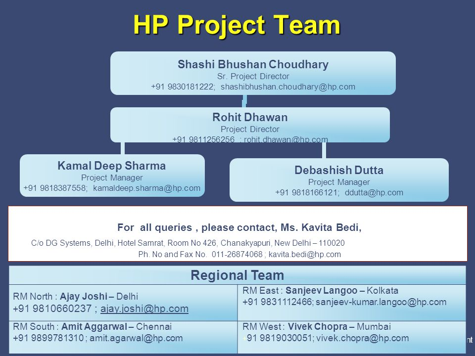 PricewaterhouseCoopers Directorate General of Systems & Data Management 25 Slide 25 HP Project Team Regional Team RM North : Ajay Joshi – Delhi + 91 9
