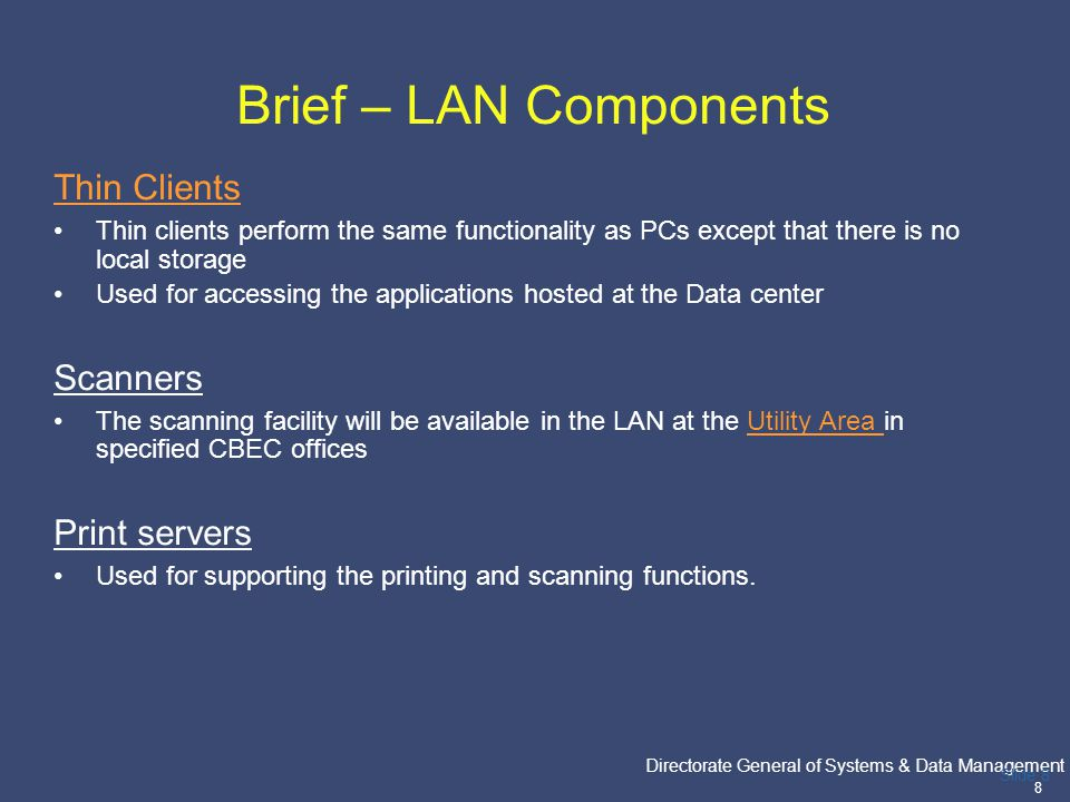 PricewaterhouseCoopers Directorate General of Systems & Data Management 19 Slide 19 Site Handover The following activities inter alia will be performed: -Testing Integration of LAN with WAN -Testing for functionality.