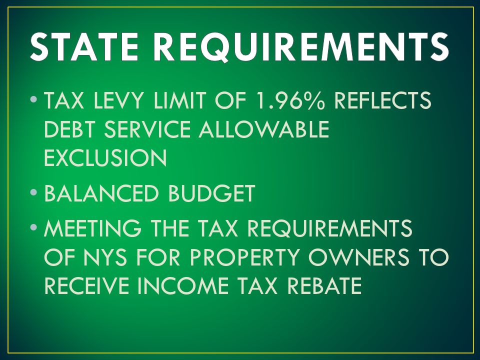 TAX LEVY LIMIT OF 1.96% REFLECTS DEBT SERVICE ALLOWABLE EXCLUSION BALANCED BUDGET MEETING THE TAX REQUIREMENTS OF NYS FOR PROPERTY OWNERS TO RECEIVE INCOME TAX REBATE