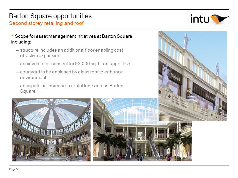 Site location Barton Square opportunities Second storey retailing and roof Page 30 Scope for asset management initiatives at Barton Square including: –structure includes an additional floor enabling cost effective expansion –achieved retail consent for 93,000 sq.
