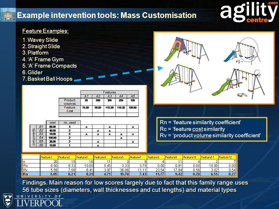 Example intervention tools: Mass Customisation Feature Examples: 1.Wavey Slide 2.Straight Slide 3.Platform 4.'A' Frame Gym 5.'A' Frame Compacts 6.Glider 7.Basket Ball Hoops Findings.