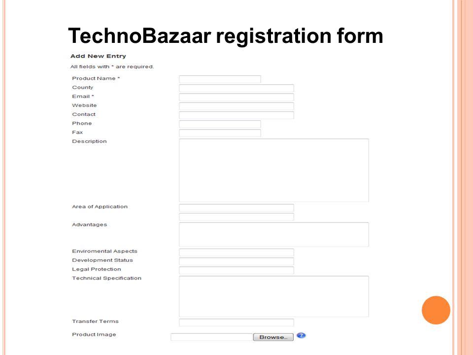 TechnoBazaar registration form