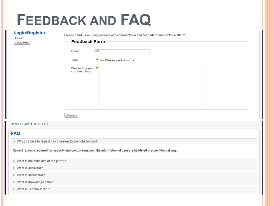 F EEDBACK AND FAQ