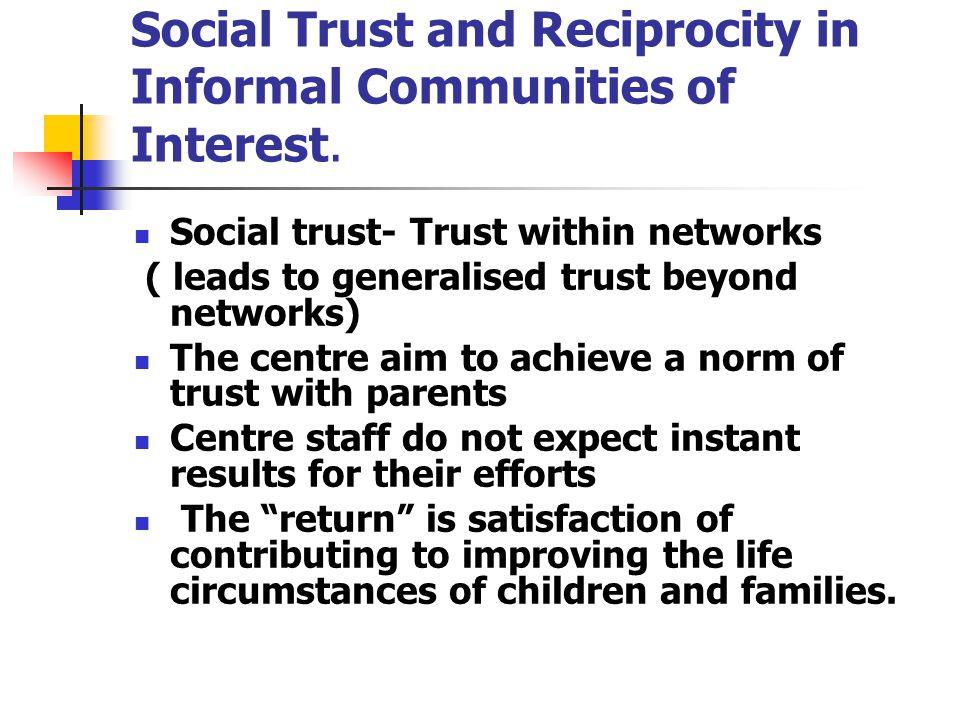 Social Trust and Reciprocity in Informal Communities of Interest.