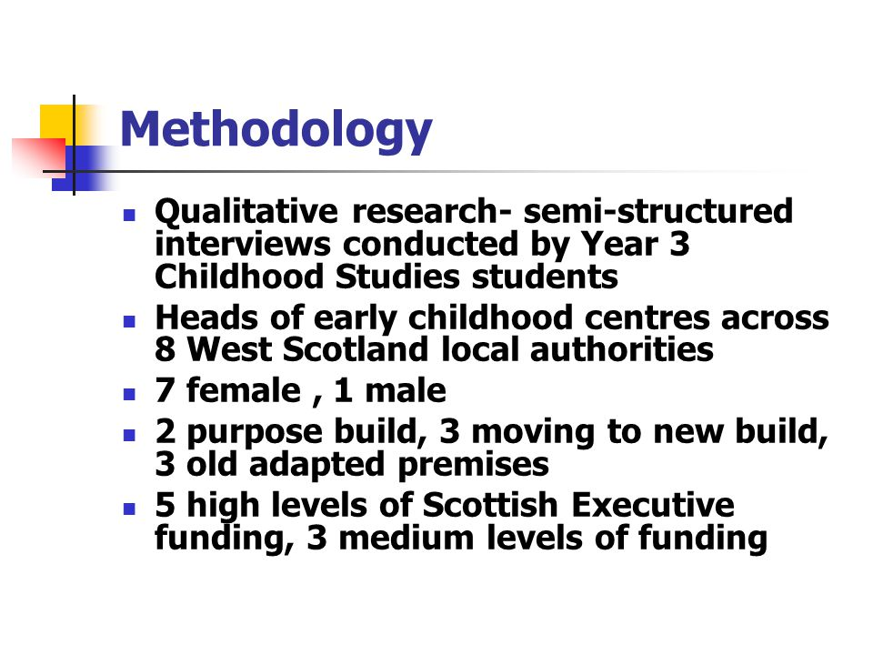 Methodology Qualitative research- semi-structured interviews conducted by Year 3 Childhood Studies students Heads of early childhood centres across 8 West Scotland local authorities 7 female, 1 male 2 purpose build, 3 moving to new build, 3 old adapted premises 5 high levels of Scottish Executive funding, 3 medium levels of funding