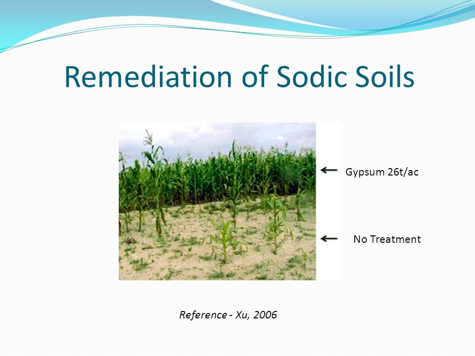 Remediation of Sodic Soils Gypsum 26t/ac No Treatment Reference - Xu, 2006