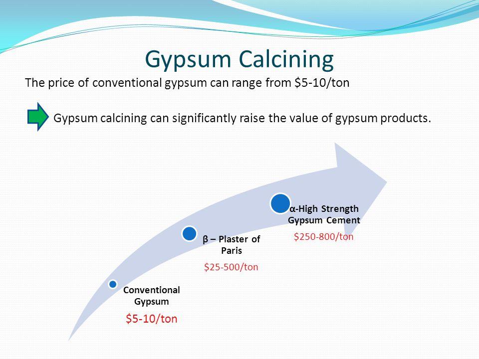 Gypsum Calcining The price of conventional gypsum can range from $5-10/ton Conventional Gypsum $5-10/ton β – Plaster of Paris $25-500/ton α-High Stren