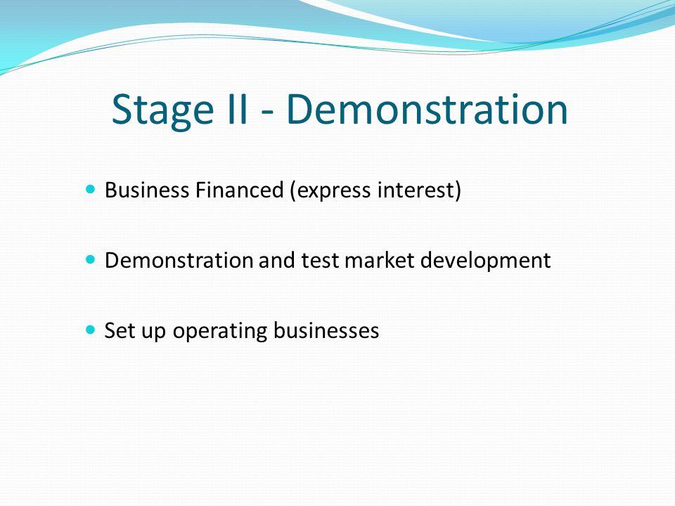 Stage II - Demonstration Business Financed (express interest) Demonstration and test market development Set up operating businesses