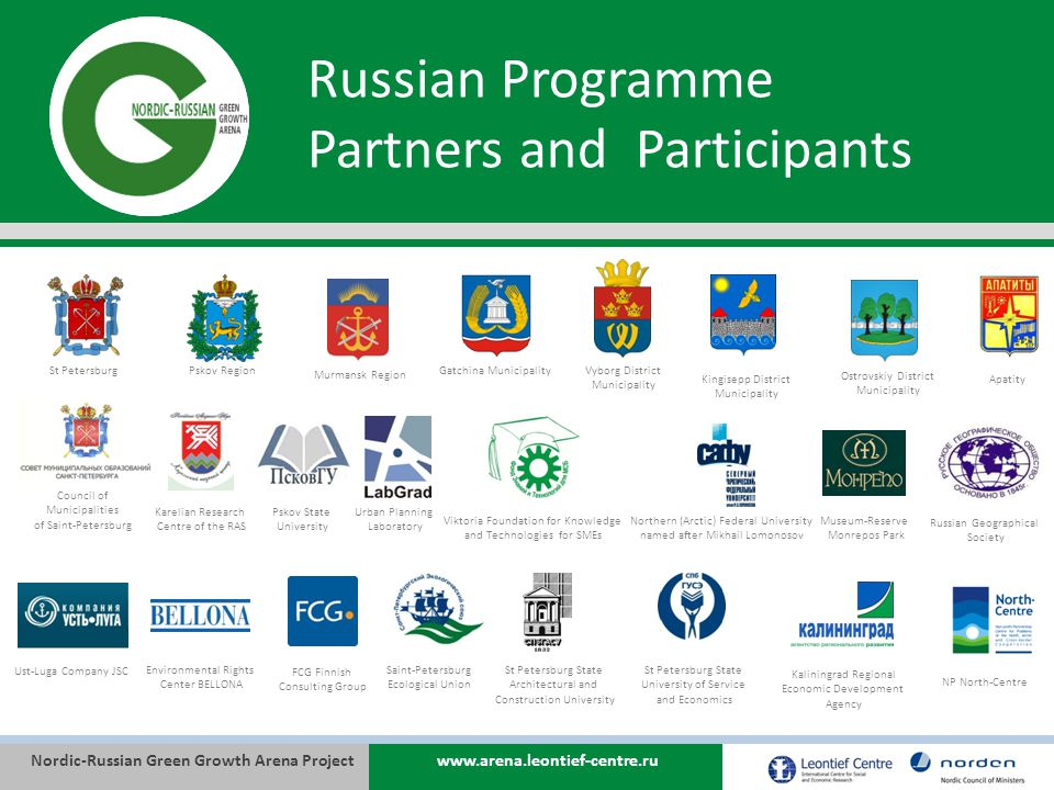 Nordic-Russian Green Growth Arena Projectwww.arena.leontief-centre.ru Russian Programme Partners and Participants Murmansk Region St PetersburgGatchina MunicipalityVyborg District Municipality Pskov Region Kingisepp District Municipality Ostrovskiy District Municipality Ust-Luga Company JSC Environmental Rights Center BELLONA FCG Finnish Consulting Group Saint-Petersburg Ecological Union St Petersburg State Architectural and Construction University Council of Municipalities of Saint-Petersburg St Petersburg State University of Service and Economics Karelian Research Centre of the RAS Northern (Arctic) Federal University named after Mikhail Lomonosov Viktoria Foundation for Knowledge and Technologies for SMEs Pskov State University Urban Planning Laboratory Kaliningrad Regional Economic Development Agency Museum-Reserve Monrepos Park Apatity Russian Geographical Society NP North-Centre