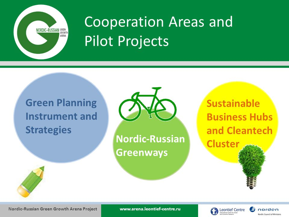 Nordic-Russian Green Growth Arena Projectwww.arena.leontief-centre.ru Cooperation Areas and Pilot Projects Nordic-Russian Greenways Green Planning Instrument and Strategies Sustainable Business Hubs and Cleantech Cluster