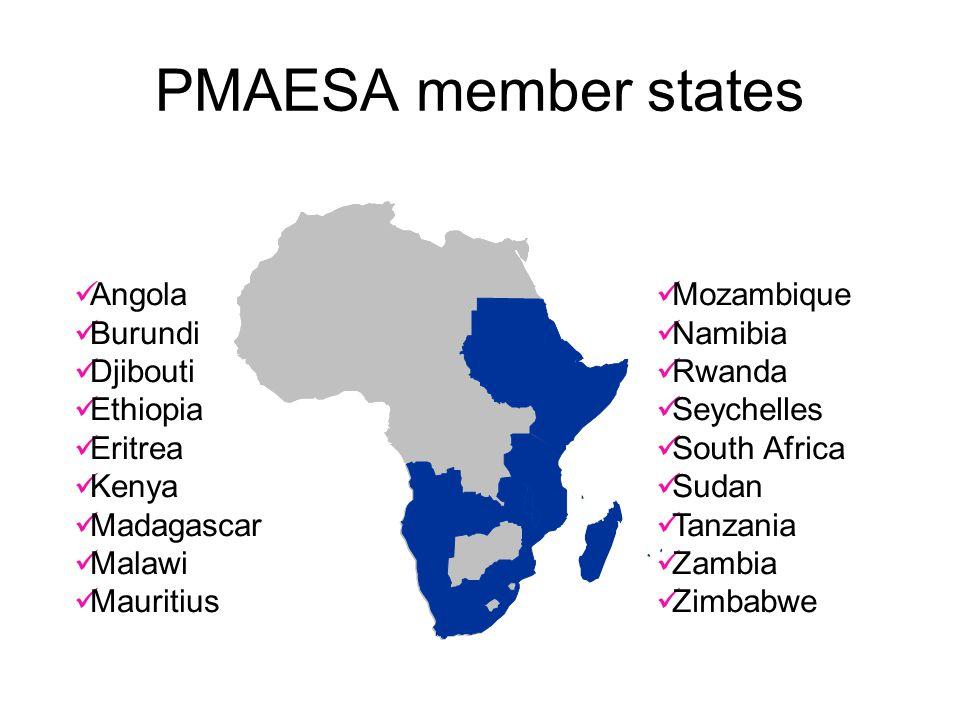 PMAESA member states Angola Burundi Djibouti Ethiopia Eritrea Kenya Madagascar Malawi Mauritius Mozambique Namibia Rwanda Seychelles South Africa Suda
