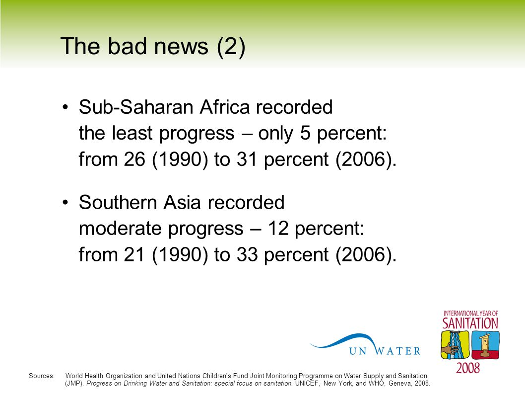 The bad news (3) The majority of people without sanitation live in Asia (70 percent) and Sub-Saharan Africa (22 percent).