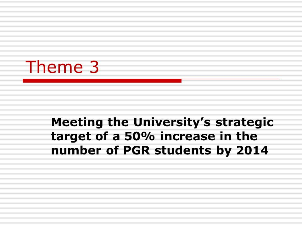 Theme 3 Meeting the University's strategic target of a 50% increase in the number of PGR students by 2014