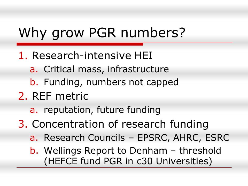 Why grow PGR numbers.
