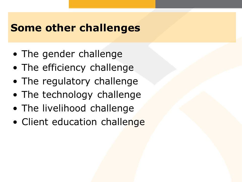 Some other challenges The gender challenge The efficiency challenge The regulatory challenge The technology challenge The livelihood challenge Client education challenge
