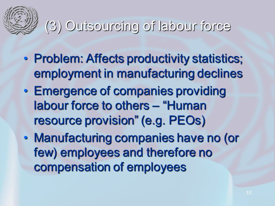 33 (3) Outsourcing of labour force Problem: Affects productivity statistics; employment in manufacturing declinesProblem: Affects productivity statistics; employment in manufacturing declines Emergence of companies providing labour force to others – Human resource provision (e.g.