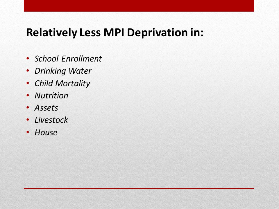 Relatively Less MPI Deprivation in: School Enrollment Drinking Water Child Mortality Nutrition Assets Livestock House