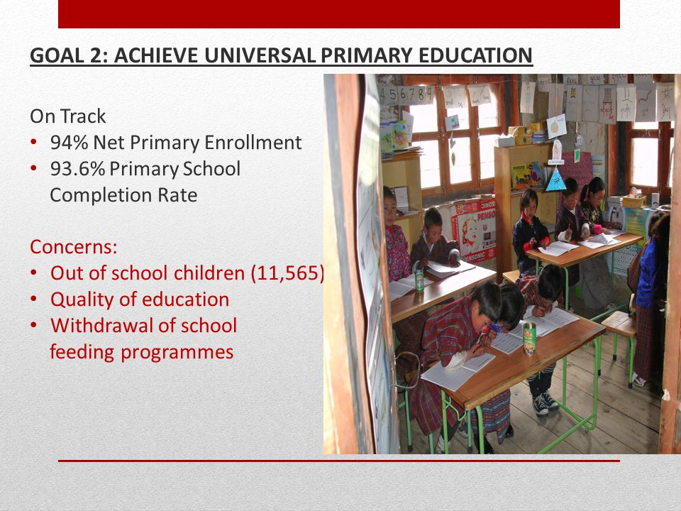 GOAL 2: ACHIEVE UNIVERSAL PRIMARY EDUCATION On Track 94% Net Primary Enrollment 93.6% Primary School Completion Rate Concerns: Out of school children (11,565) Quality of education Withdrawal of school feeding programmes