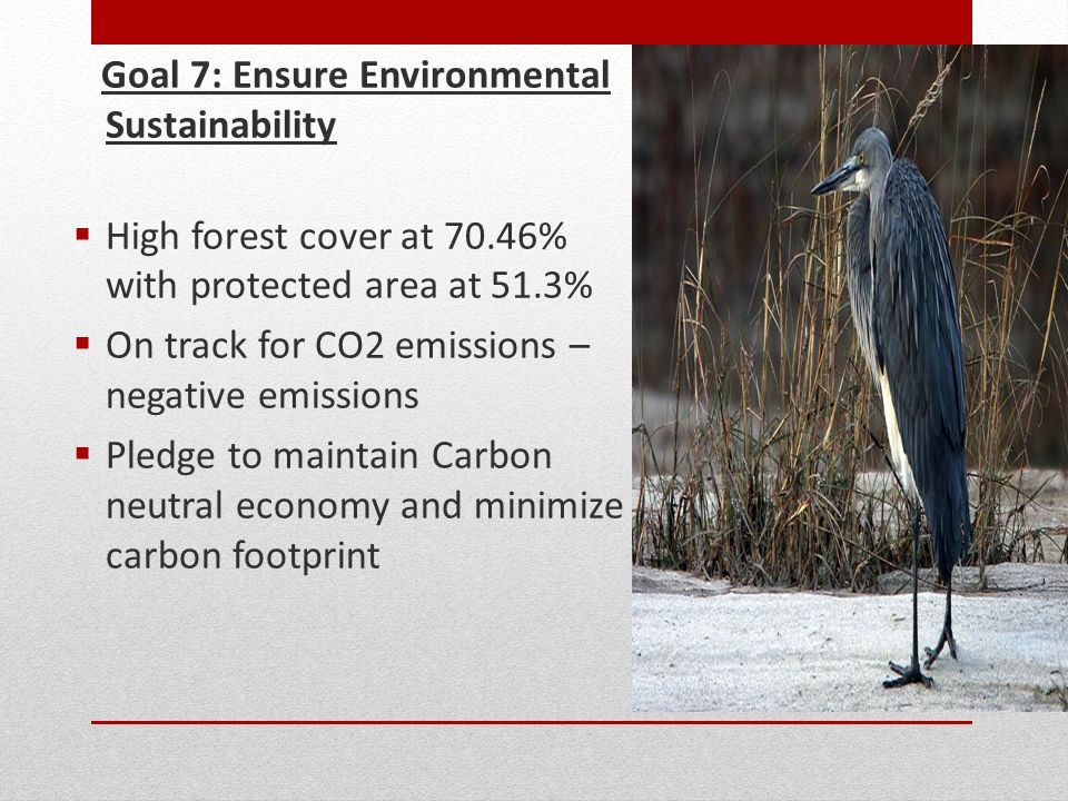 Goal 7: Ensure Environmental Sustainability  High forest cover at 70.46% with protected area at 51.3%  On track for CO2 emissions – negative emissions  Pledge to maintain Carbon neutral economy and minimize carbon footprint