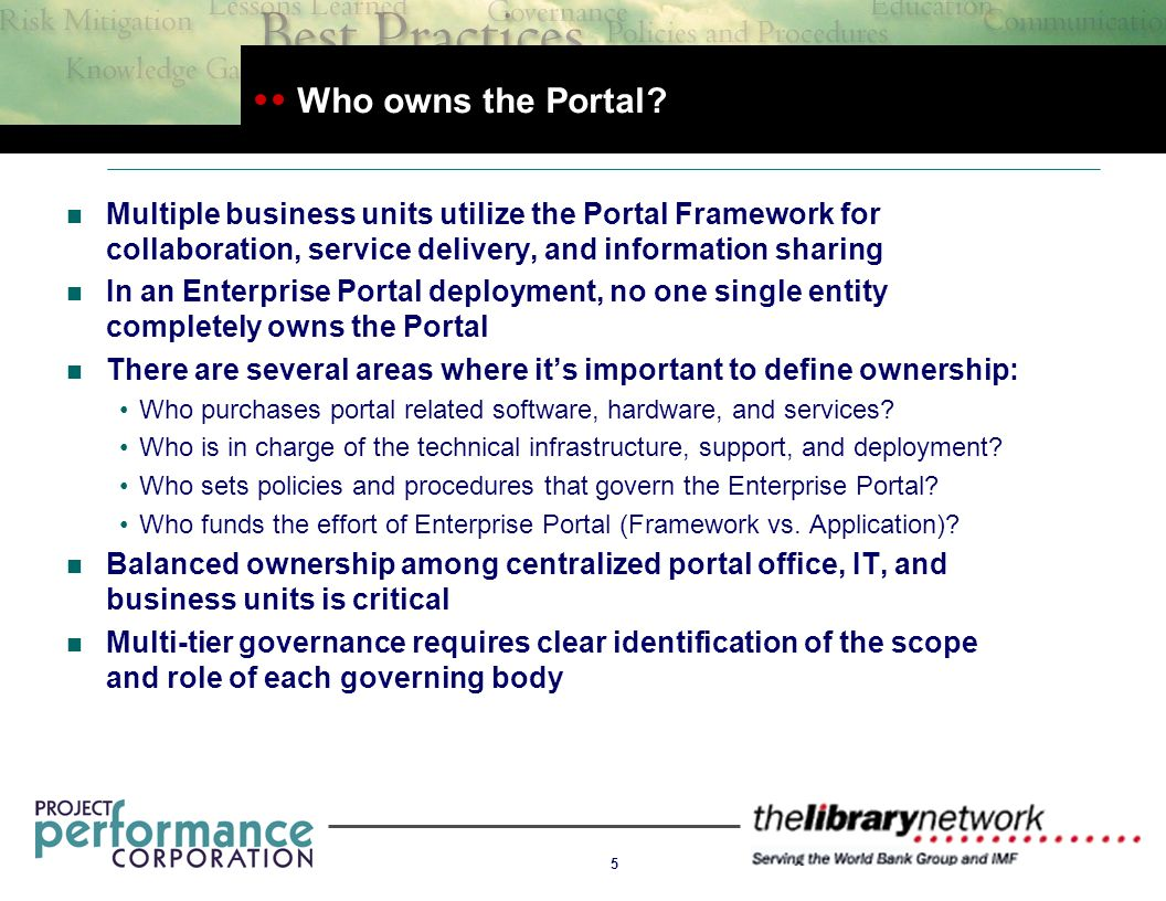 5 Who owns the Portal.
