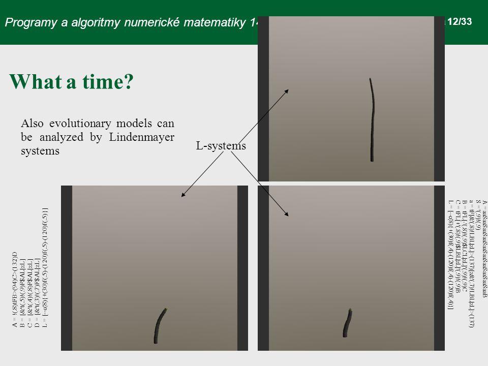 Programy a algoritmy numerické matematiky 14 strana 12/33 What a time.