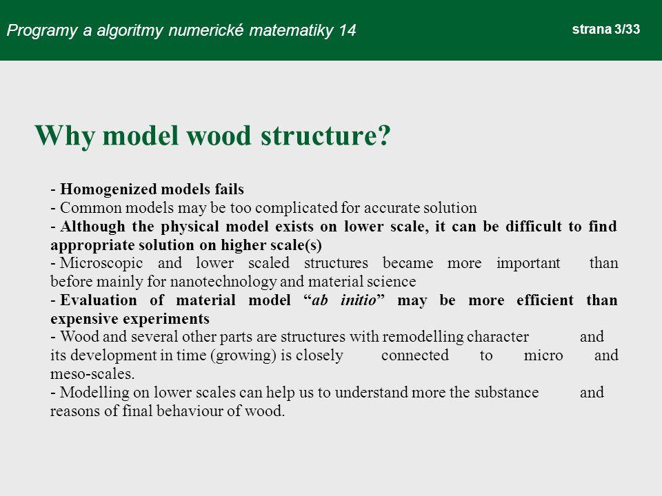 Programy a algoritmy numerické matematiky 14 strana 3/33 Why model wood structure.