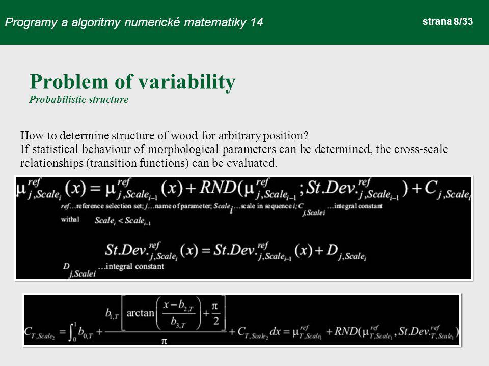 Programy a algoritmy numerické matematiky 14 strana 9/33 Near the stem pith Far off the stem pith Shear RLShear RTShear TL etc.