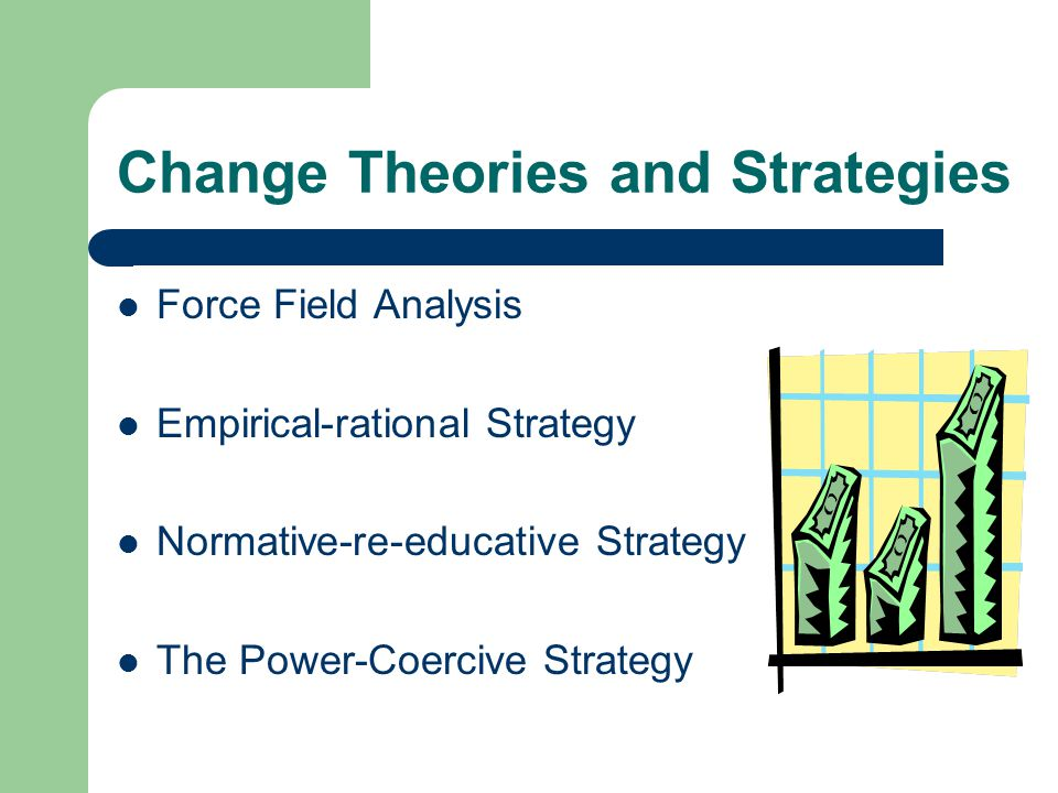 Change Theories and Strategies Force Field Analysis Empirical-rational Strategy Normative-re-educative Strategy The Power-Coercive Strategy
