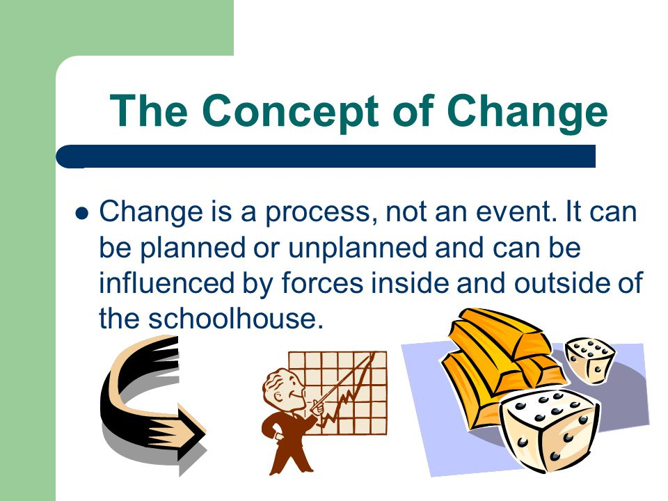 The Concept of Change Change is a process, not an event.