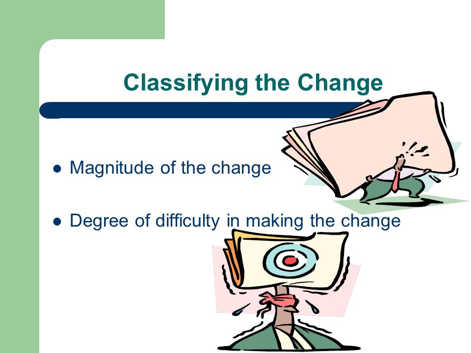 Classifying the Change Magnitude of the change Degree of difficulty in making the change