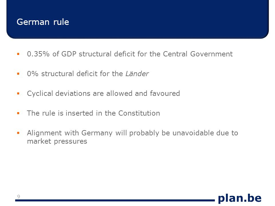 plan.be Conclusion: a balanced budget in 2015 is very ambitious  The level of the structural deficit in 2009 (-2.8) should be adjusted in the medium term : if it starts in 2012, it would mean a structural adjustment of somewhat more than 0.5 p.p.