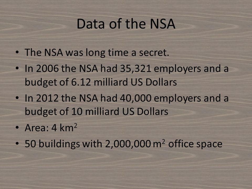 Data of the NSA The NSA was long time a secret. In 2006 the NSA had 35,321 employers and a budget of 6.12 milliard US Dollars In 2012 the NSA had 40,0