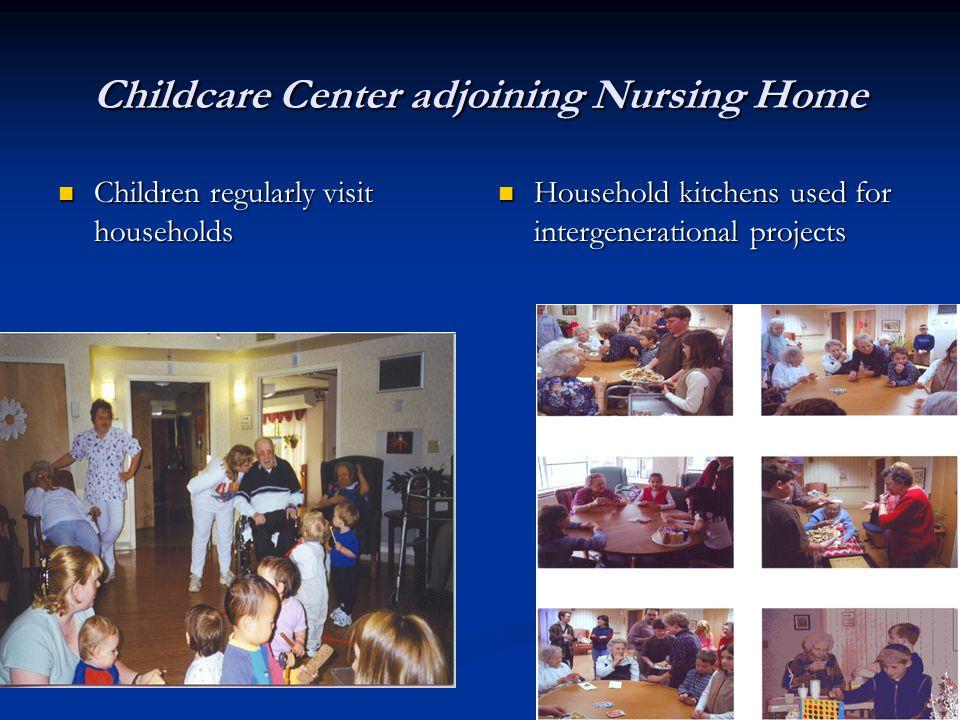 Childcare Center adjoining Nursing Home Children regularly visit households Children regularly visit households Household kitchens used for intergenerational projects