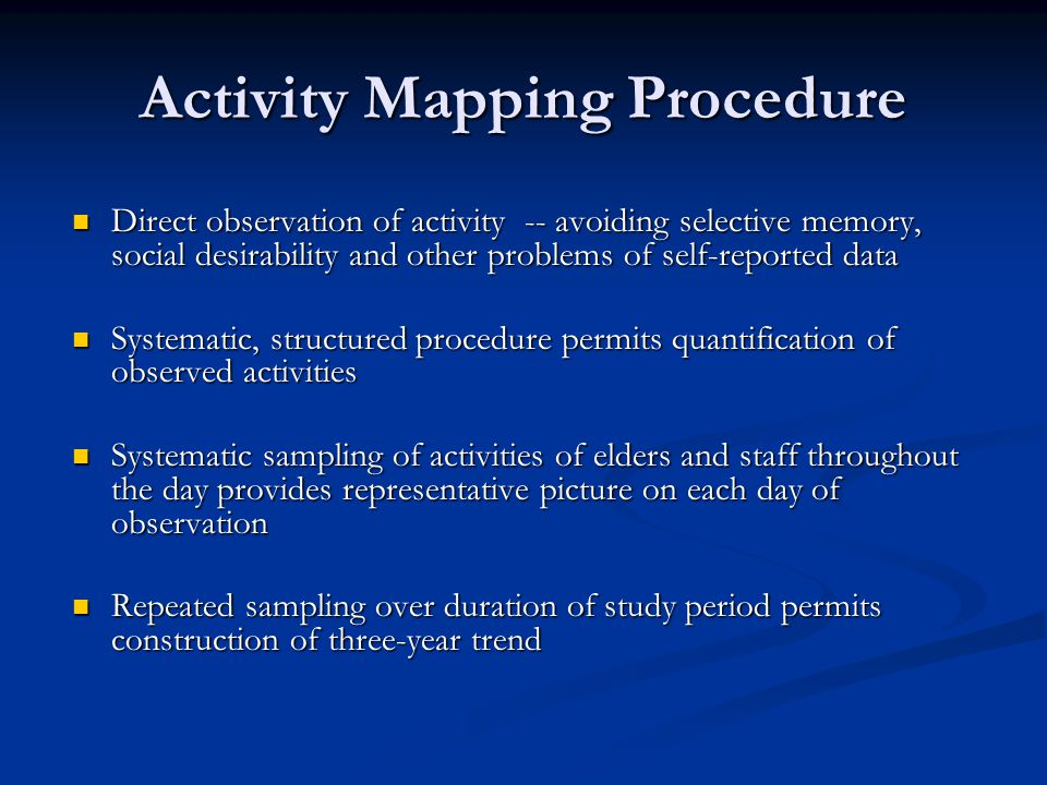 Activity Mapping Procedure Direct observation of activity -- avoiding selective memory, social desirability and other problems of self-reported data Direct observation of activity -- avoiding selective memory, social desirability and other problems of self-reported data Systematic, structured procedure permits quantification of observed activities Systematic, structured procedure permits quantification of observed activities Systematic sampling of activities of elders and staff throughout the day provides representative picture on each day of observation Systematic sampling of activities of elders and staff throughout the day provides representative picture on each day of observation Repeated sampling over duration of study period permits construction of three-year trend Repeated sampling over duration of study period permits construction of three-year trend