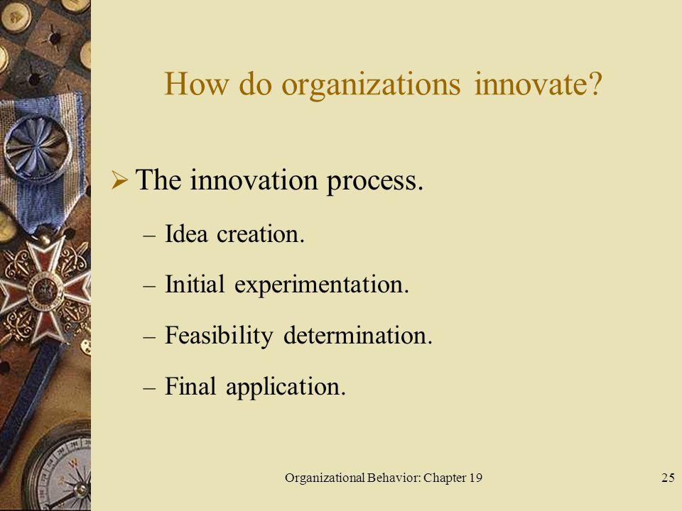Organizational Behavior: Chapter 1925 How do organizations innovate?  The innovation process. – Idea creation. – Initial experimentation. – Feasibili