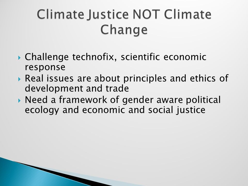  Real challenge is systemic change  Not global panic leading to technofix  Link climate change to other economic and political injustices: food crisis, militarism, ecological conflicts, consumerism