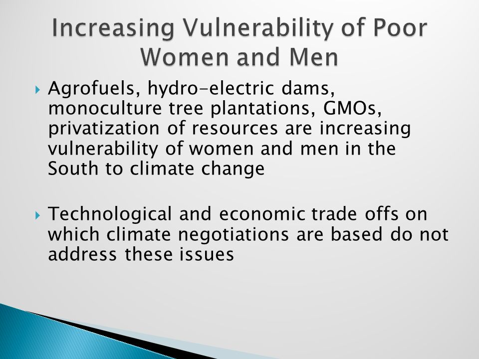  Agrofuels, hydro-electric dams, monoculture tree plantations, GMOs, privatization of resources are increasing vulnerability of women and men in the South to climate change  Technological and economic trade offs on which climate negotiations are based do not address these issues