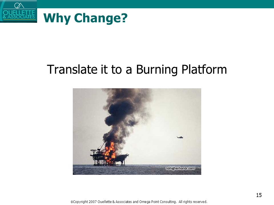 15 Translate it to a Burning Platform Why Change?  Copyright 2007 Ouellette & Associates and Omega Point Consulting. All rights reserved.