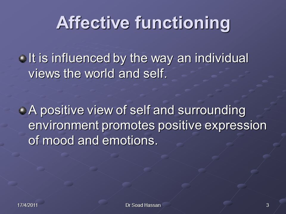 317/4/2011Dr Soad Hassan It is influenced by the way an individual views the world and self.