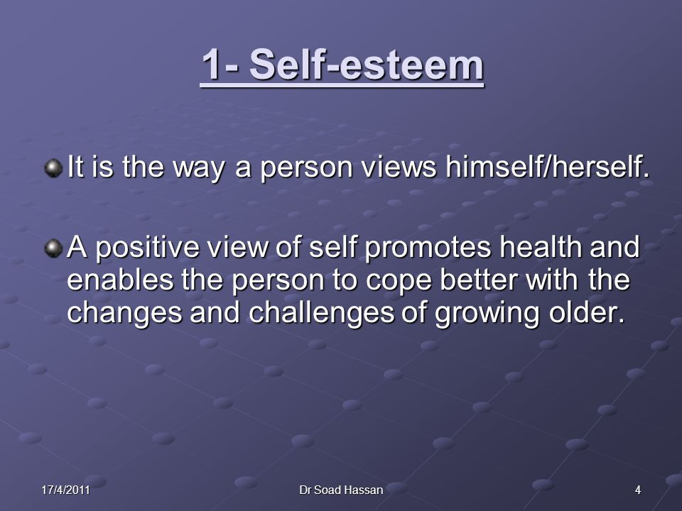417/4/2011Dr Soad Hassan 1- Self-esteem It is the way a person views himself/herself.