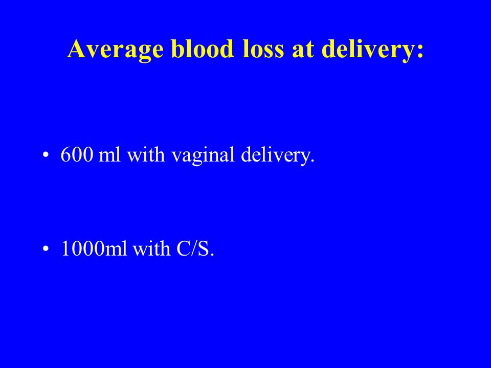 Average blood loss at delivery: 600 ml with vaginal delivery. 1000ml with C/S.