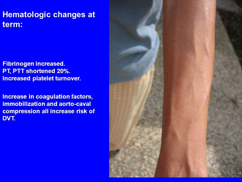 Hematologic changes at term: Fibrinogen increased. PT, PTT shortened 20%. Increased platelet turnover. Increase in coagulation factors, immobilization