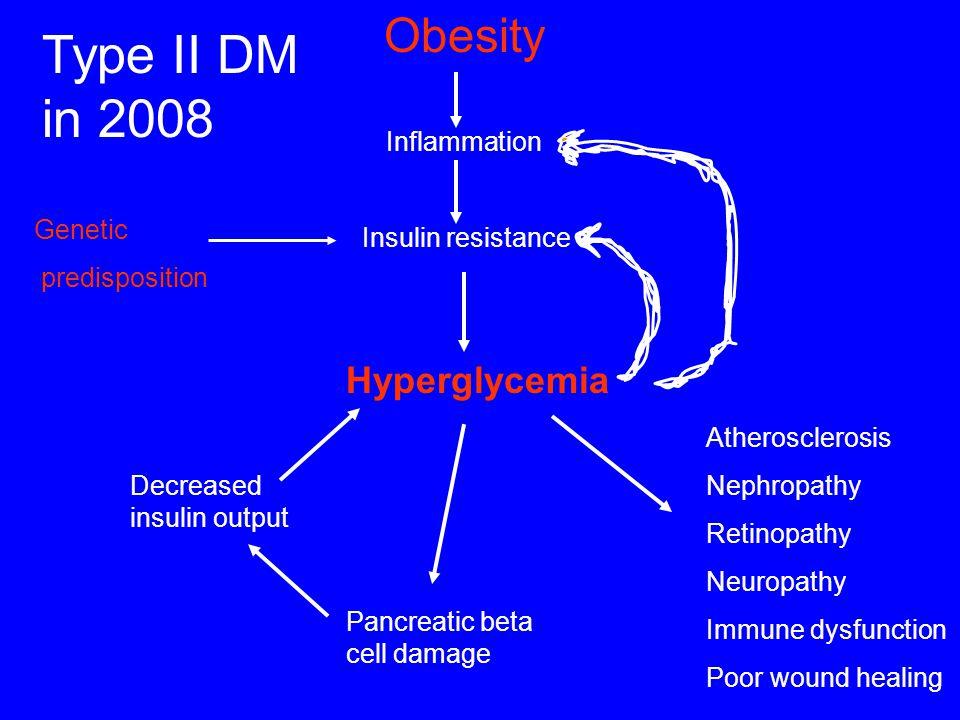 Type II DM in 2008 Hyperglycemia Obesity Inflammation Insulin resistance Atherosclerosis Nephropathy Retinopathy Neuropathy Immune dysfunction Poor wo