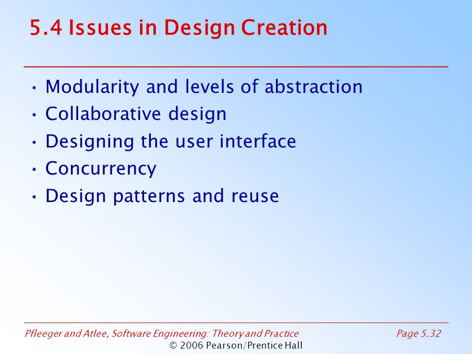Pfleeger and Atlee, Software Engineering: Theory and PracticePage 5.32 © 2006 Pearson/Prentice Hall 5.4 Issues in Design Creation Modularity and levels of abstraction Collaborative design Designing the user interface Concurrency Design patterns and reuse