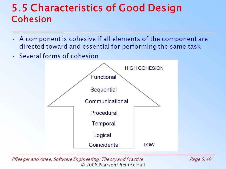 Pfleeger and Atlee, Software Engineering: Theory and PracticePage 5.49 © 2006 Pearson/Prentice Hall 5.5 Characteristics of Good Design Cohesion A component is cohesive if all elements of the component are directed toward and essential for performing the same task Several forms of cohesion