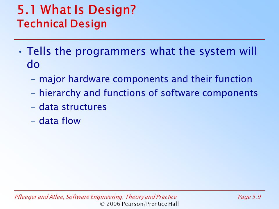 Pfleeger and Atlee, Software Engineering: Theory and PracticePage 5.9 © 2006 Pearson/Prentice Hall 5.1 What Is Design.