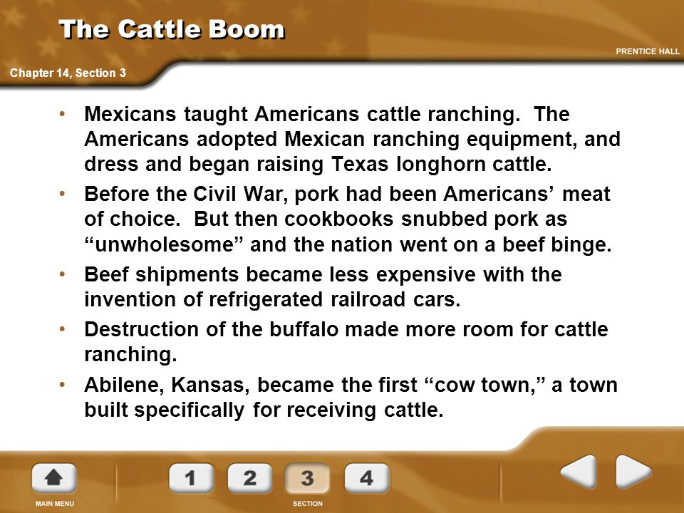 The Cattle Boom Mexicans taught Americans cattle ranching. The Americans adopted Mexican ranching equipment, and dress and began raising Texas longhor